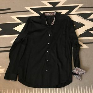 Ted Baker Black Dress Shirt W/ Floral Detail